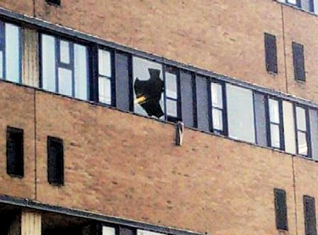 The smashed window at the Queens Medical Centre (QMC) where Joseph Tauya jumped through the window believing he was Jesus