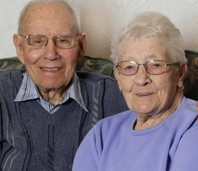 Florence and Harry Lucas, who have been married for 70 years. They say the secret is to row every day