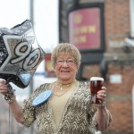 Britain's oldest barmaid Joyce Leyshon who is still pulling pints at the age of 90