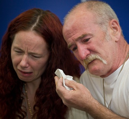 Mick Philpott, 55, and his wife Mairead, 31, shortly after their children were killed in a house fire earlier this year