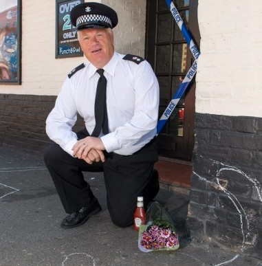 Pete Williams, Landlord of the Punchbowl pub in Spalding, Lincs who sparked panic in his local town after staging a mock murder scene, in aid of a police chief's retirement party