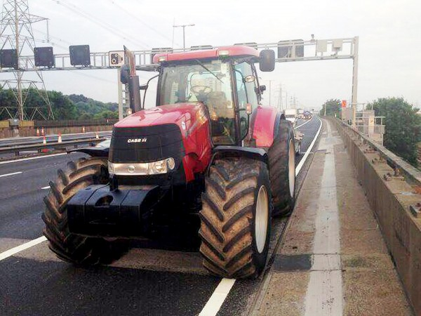 A giant tractor pictured after being pulled over by police near to Spaghetti junction, Birmingham