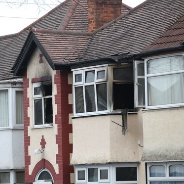 The house in Springfield, Birmingham, where Naika Inayat died after a fire this morning