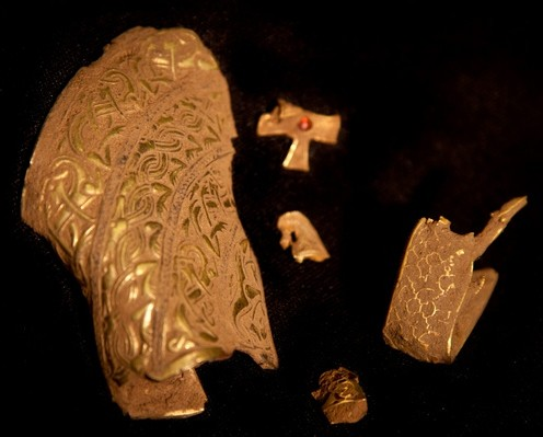 Part of the haul of Anglo Saxon treasure which was found in Staffordshire. More artefacts have been discovered