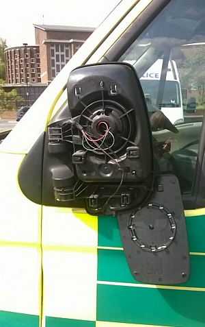 Damage to the ambulance's wing mirror