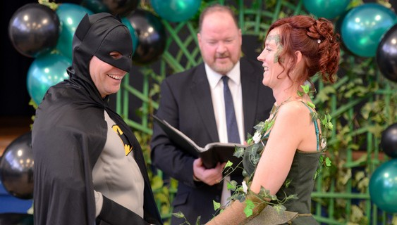 Neil Armstrong and his wife Shirley renew their wedding vows in a superhero themed ceremony