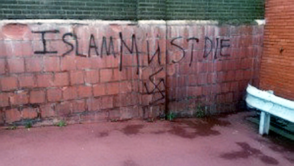 'Islam must die' graffiti on a building at the University of Birmingham