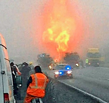 A 50ft fireball erupts on the M6 after a chemical tanker explosion this morning