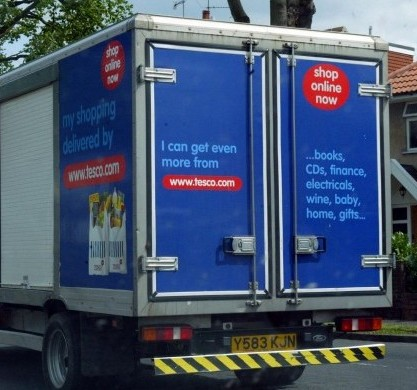 A Tesco delivery lorry similar to the one that knocked over and killed a horse
