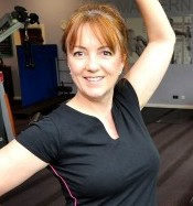 Karen Lowen dances on the treadmill as part of her fitness routine