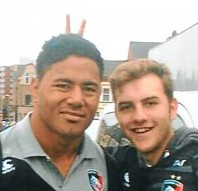 Brave Jack Quinton who posed for a picture and did bunny ears behind the back of Leicester Tigers and England rugby player, Manu Tuilagi
