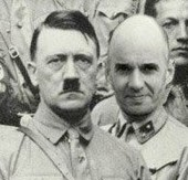 The doctored picture UKIP candidate Richard Delingpole posted on Twitter of himself with Hitler. It is a satirical swipe at the Tories' mud raking