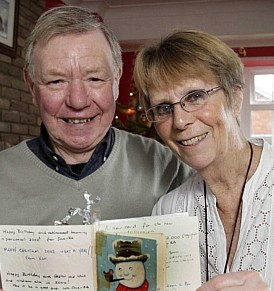 Ken Payne with his sister Joyce Lampitt and the same Christmas card they've been sending to each other for the last 46 years