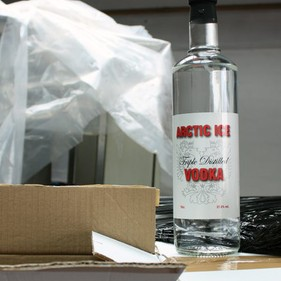 The illegal Arctic Ice vodka found at an industrial unit in Birmingham