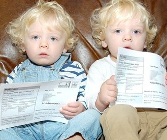 Finley and Lennon Tarry with their polling cards to vote in the Police Crime Commissioner elections