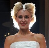 Former Miss Scotland Lois Wetherup at Corinthian night club in Glasgow wearing a wedding dress made out of meringue