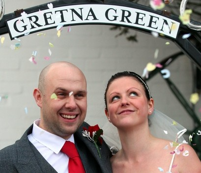 Nick and Michelle Challinor from Stoke-on-Trent, Staffordshire, celebrate their wedding on the historic date