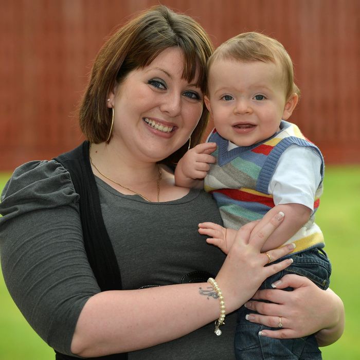 Little Conner Breslin who survived two killer conditions smiles with mum Claire McCormack