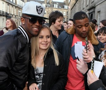 Oritse Williams and J.B. Gill from Boy band JLS meet with fans outside Radio Forth in Edinburgh yesterday