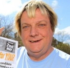 Steve Comer, Lib Dem Councillor for Eastville ward, Bristol, with his 'racist' election flier