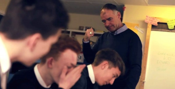 Tommy Sheridan appearing in a music video as a headmaster