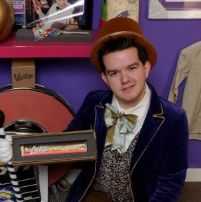 Film memorabilia collector and Willy Wonka And Chocolate Factory fan Gregor Gillespie, 24, from Grangemouth, with some of his original memorabilia and film props