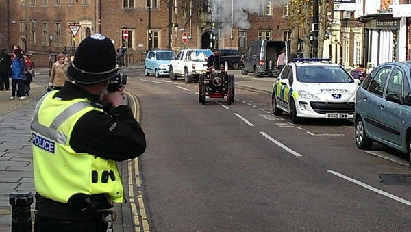 The bizarre moment a policeman uses a speedgun on steam engine