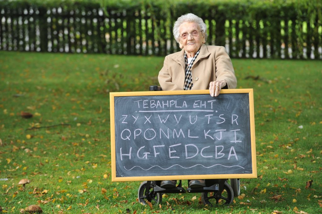 Phyllis (Phyl) Knight, 97, can recite the alphabet backwards in under eight seconds, pictured at her nursing home near Barnsley, South Yorks., September 23 2017.