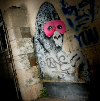Some of Banksy's early graffiti in Bristol. The artist is to stage an exhibition in Moscow