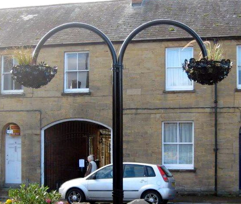 The £3,400 hanging basket which resembles a McDonald's logo
