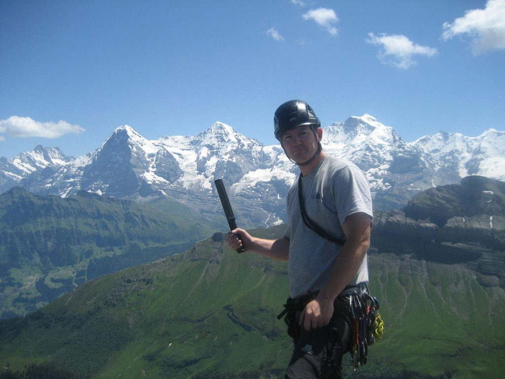 Baz Gray with the Monch, Jungfrau and Eigr mountains in Switzerland in June 2010.