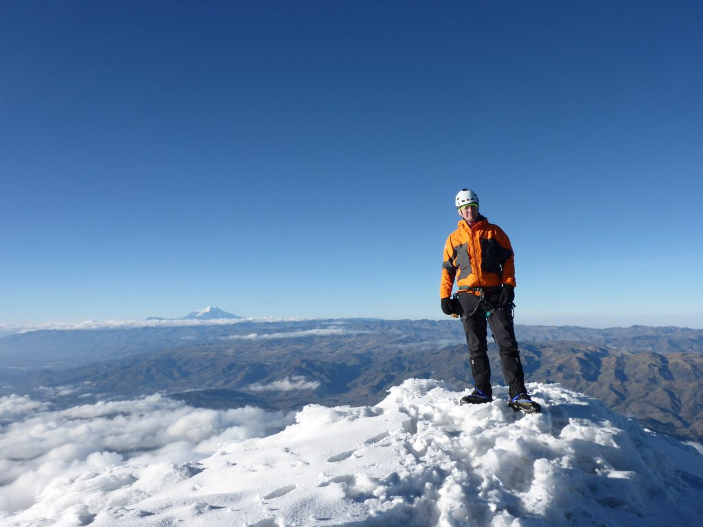 Baz Gray at the summit of Antisana in Ecudor, October 2016 as part of the 25zero climate project.