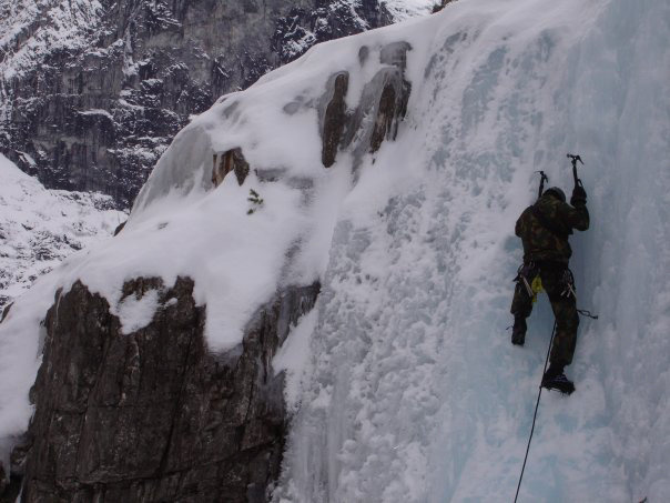 Baz Gray teaches others to lead climb in Norway, 2010, during a Royal Marine Mountain leader course.
