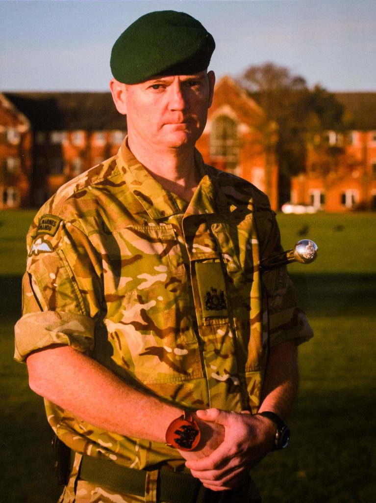 Baz Gray during his role as a Royal Marine Regimental Sargent Major in 2015.
