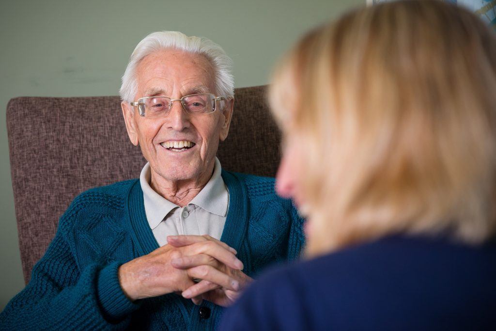 Raymond Longridge who is staying at Cooksons Court care home in Yeovil, pictured with nurse Audrey Borland.
