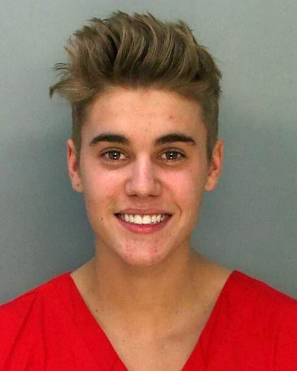 The police mugshot of teen pop star Justin Bieber after he was arrested for DUI