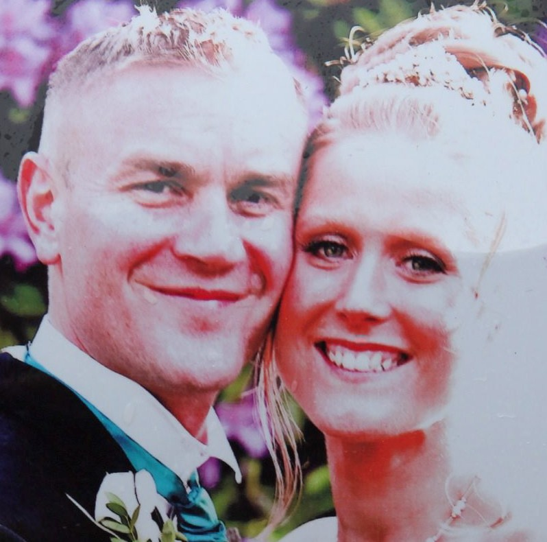 Ross Simons and wife Clare on their wedding day. They died after being hit by a car being chased by police in Bristol