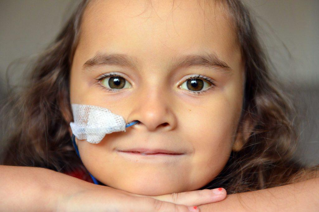 Chloe Gray who has undergone 100 blood transfusions.