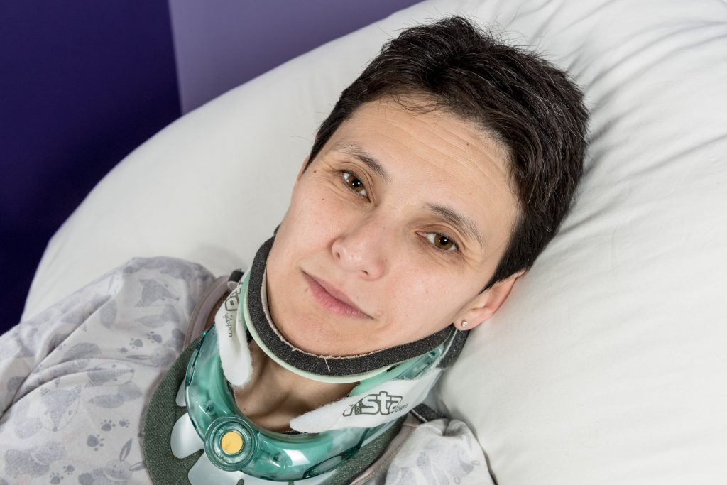 Sarah Gearing age 40 who suffers from Ehlers danlos syndrome at her home in Essex.