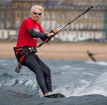 Sir Richard Branson joins the 318 strong Virgin Kitesurfing Armada off the coast of Hayling Island in Hampshire as they break the Guinness World Record for the Largest Parade of Kitesurfers ever assembled