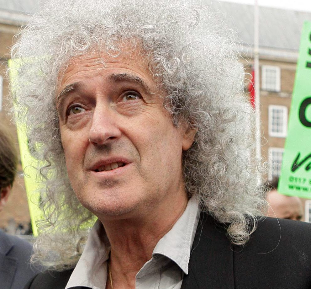 Ex Queen guitarist Brian May attends a rally on Bristol's College Green against the badger cull