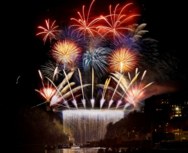 The incredible fireworks display at Brunel's Clifton Suspension Bridge, Bristol, marking the 150 years of its opening
