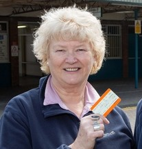 Liz Barron, 63, and her husband Tony Barron, 71, with their tickets from Barry train station, South Wales
