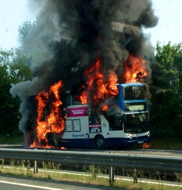 Plumes of smoke could be seen from miles around after this double-decker bus exploded near Tiverton