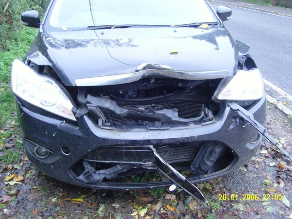 The damaged caused to the car of Nigel Cox after he was hit by a wheel from a bus