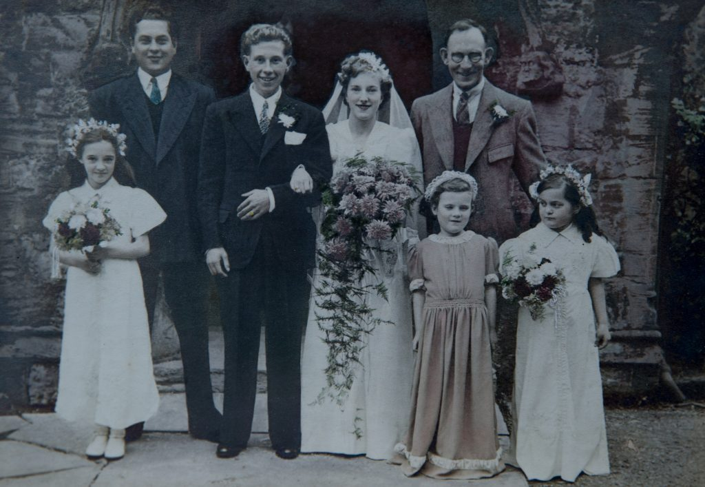 Jim and Flo Essex on their wedding day in a now-defunct church in Yeovil on October 11 1947 with Jim's brother and Flo's dad present.