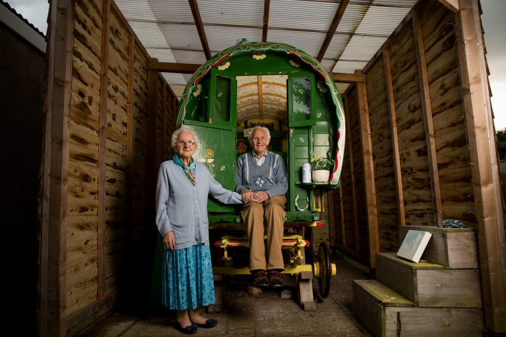 Jim and Flo Essex, 81 and 87, pictured in front of the caravan Jim purchased for Flo in Yeovil, Somerset.