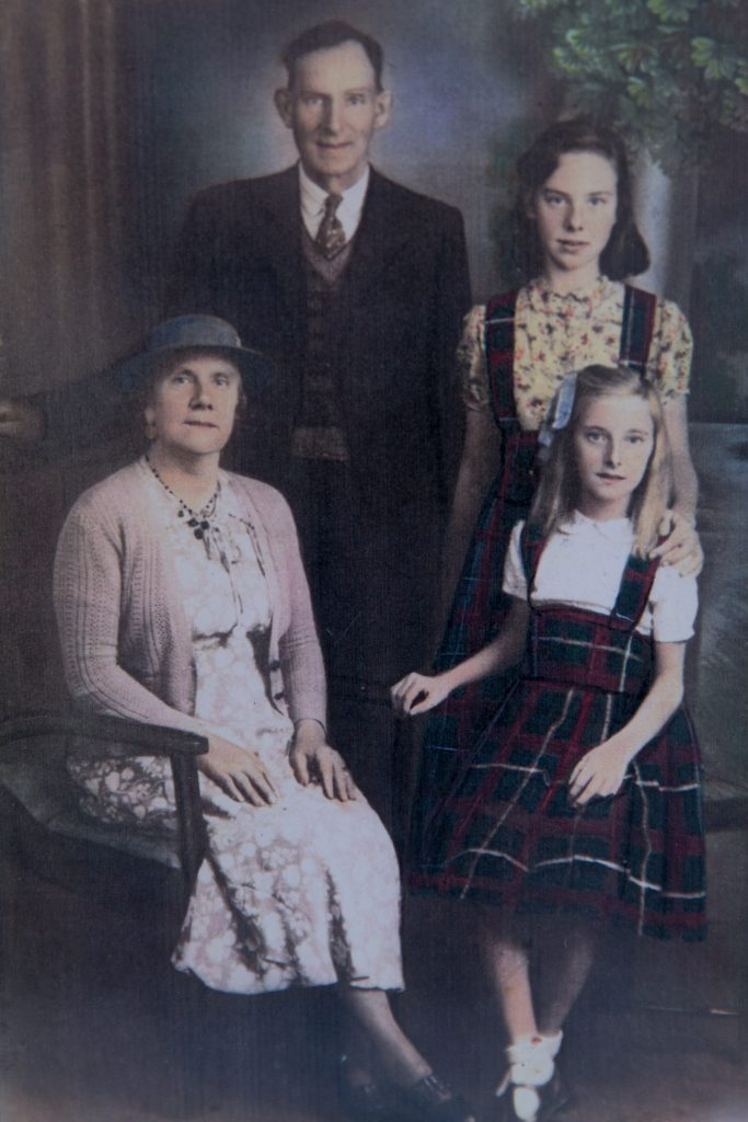 Photograph Flo aged 11 (bottom right) with dad Benjamin Thorne, mother Florence Thorne, and sister Lillian Thorne (dated about 1941)