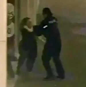 CCTV grab of the moment when carer Rachael Hartman violently attacked PC Debbie Chamberlain