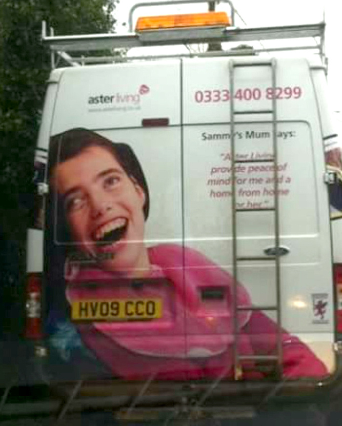 Sammy Wright was the Face of Aster as see on the back of a van.